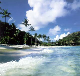 Beaches of Peter Island of the British Virgin Islands